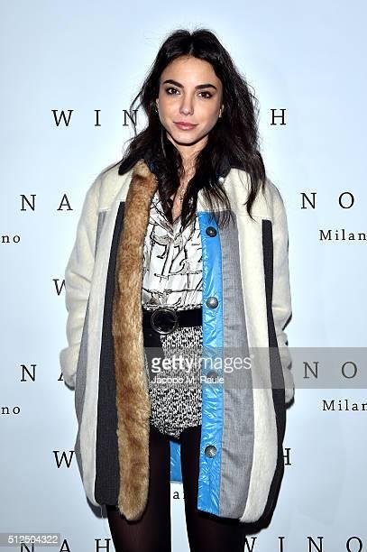 Chiara Biasi attends Winonah VIP Cocktail photocall during Milan Fashion Week Fall/Winter 2016/17 on February 26 2016 in Milan Italy