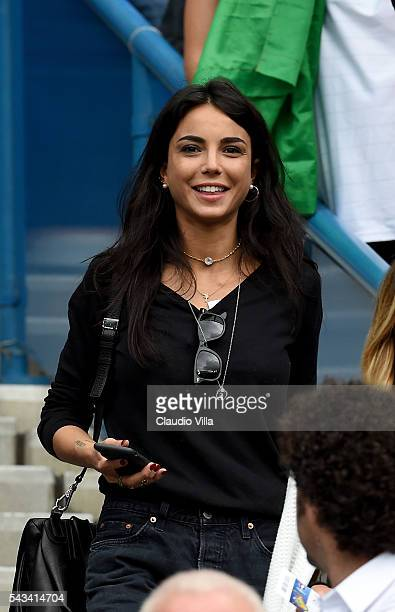 Chiara Biasi girlfriend of Simone Zaza of Italy is seen prior to the UEFA EURO 2016 round of 16 match between Italy and Spain at Stade de France on...