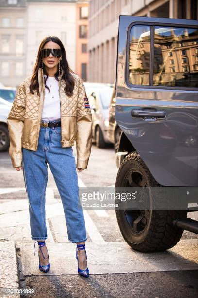 Chiara Biasi is seen outside Philosophy di Lorenzo Serafini show during Milan Fashion Week Fall/Winter 20202021 on February 22 2020 in Milan Italy