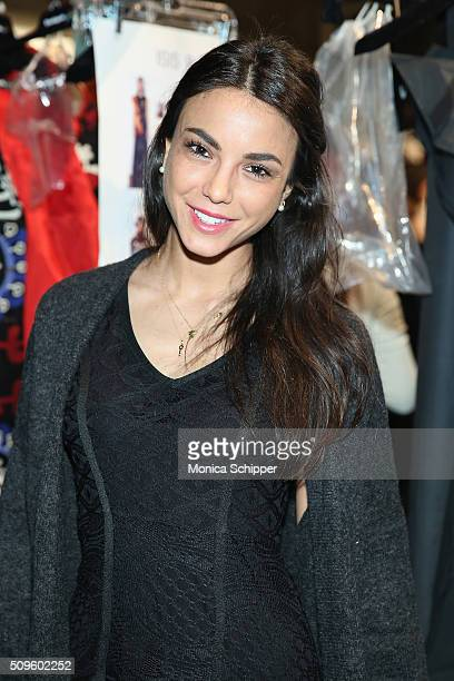 Chiara Biasi poses backstage at Desigual fashion show during Fall 2016 New York Fashion Week The Shows at The Arc Skylight at Moynihan Station on...