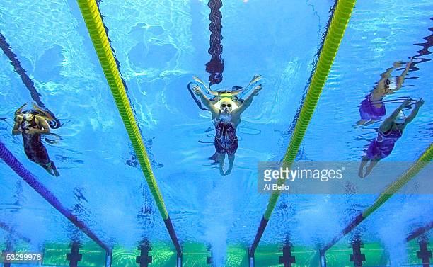 Chiara Boggiatto of Italy Leisel Jones of Australia and Katarzyna of Poland swim in the 200 meter Breatstroke at the XI FINA World Championships at...