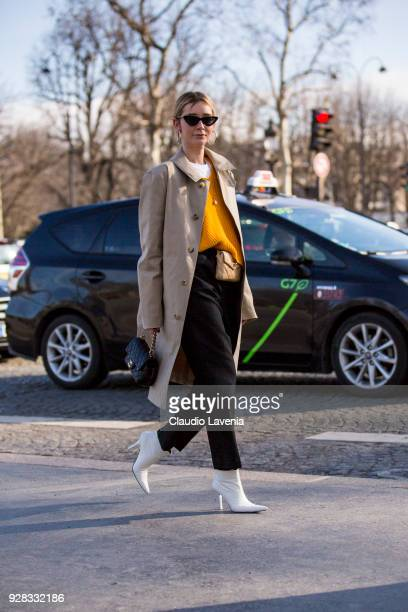 Chiara Capitani, is seen in the streets of Paris before the Chanel show during Paris Fashion Week Womenswear Fall/Winter 2018/2019 on March 6, 2018...