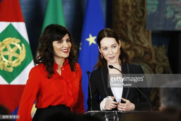 Chiara Civello and Cristiana Capotondi attends the International Women's Day Celebrations at Palazzo del Quirinale on March 8 2018 in Rome Italy