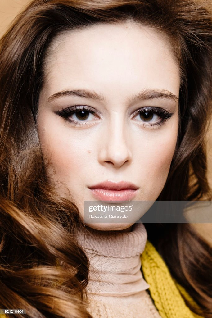 A model is seen backstage ahead of the Les Copains show during Milan Fashion Week Fall/Winter 2018/19 on February 22, 2018 in Milan, Italy.
