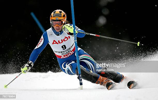 Chiara Costazza of Italy takes 6th place during the Alpine FIS Ski World Cup Womens' Slalom on January 27 2008 in Ofterschwang Germany