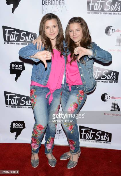 Chiara D'ambrosio and Bianca D'ambrosio attend The Artists Project Boo2Bullying Toy Drive to Benefit the Los Angeles Fire Department on December 14...