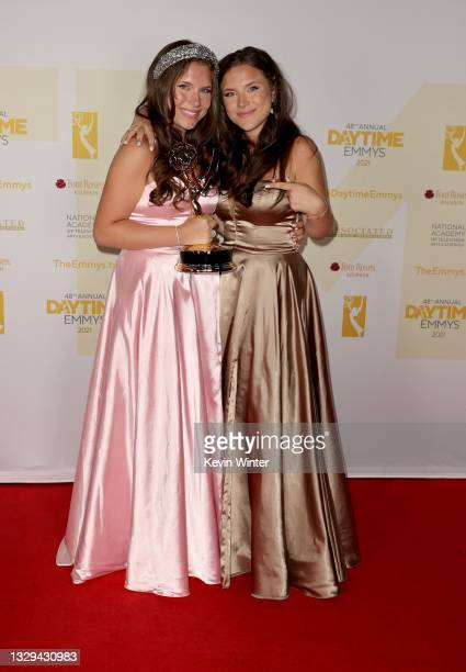 """Chiara D'Ambrosio poses with the award for Outstanding Younger Performer in a Daytime Fiction Program for """"The Bay"""" with Bianca D'Ambrosio during the..."""
