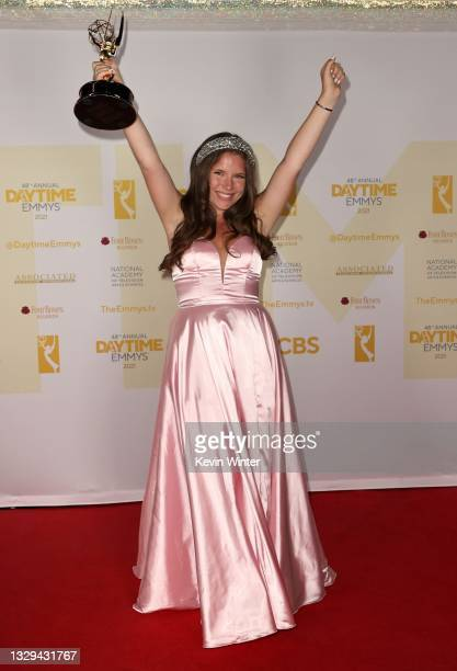 """Chiara D'Ambrosio poses with the award for Outstanding Younger Performer in a Daytime Fiction Program for """"The Bay"""" during the 48th Annual Daytime..."""
