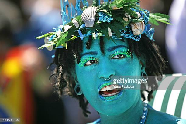 Chiara de Blasio daughter of New York City Mayor Bill de Blasio attends the 2014 Mermaid Parade at Coney Island on June 21 2014 in the Brooklyn...