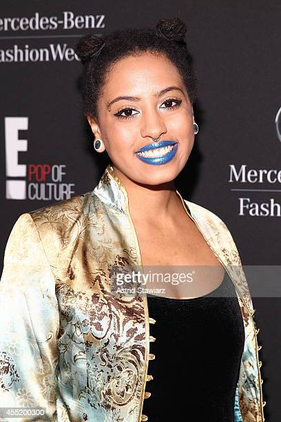 Chiara de Blasio poses backstage at the Anna Sui fashion show during Mercedes-Benz Fashion Week Spring 2015 at The Theatre at Lincoln Center on...