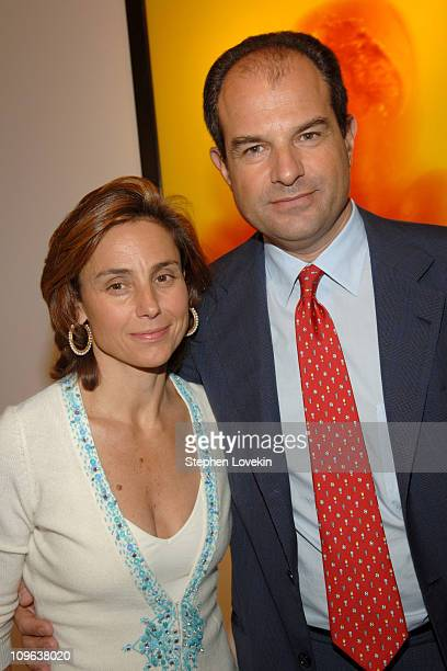 """Chiara Ferragamo and Massimo Ferragamo during Salvatore Ferragamo Hosts Event to Inaugurate The """"Origin - Mother and Child"""" Art Exhibit in New York..."""