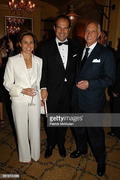 Chiara Ferragamo, Massimo Ferragamo and Dr. Gerald Imber attend Book Launch for 'Absolute Beauty' by Dr. Gerald Imber at Hotel Plaza Athenee on May...