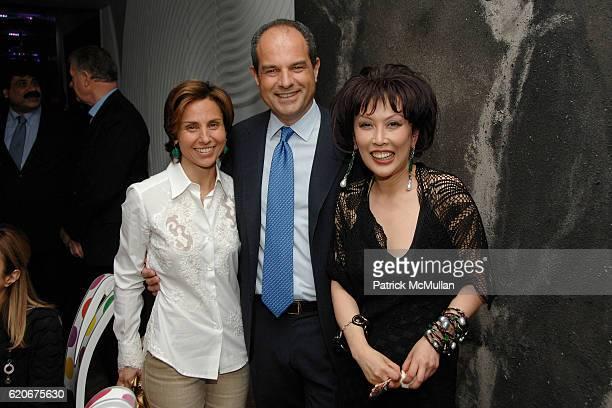 Chiara Ferragamo, Massimo Ferragamo and Pearl Lam attend FERRAGAMO 80th Anniversary - Private Dinner hosted by PEARL LAM at The home of Pearl Lam on...