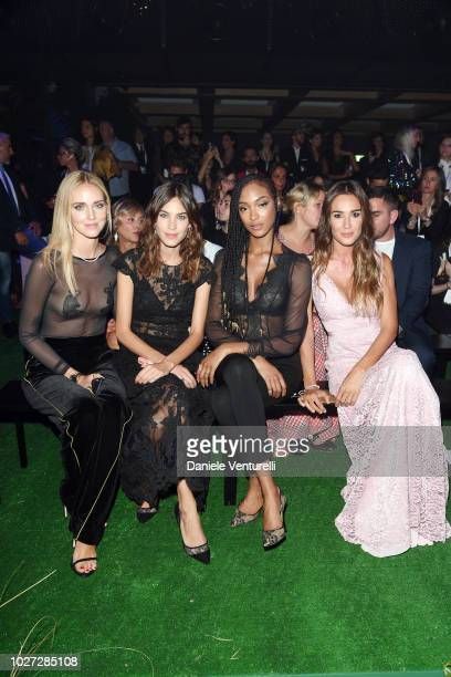 Chiara Ferragni, Alexa Chung, Jordan Dunn and Silvia Toffanin attend the Intimissimi Show on September 5, 2018 in Verona, Italy.