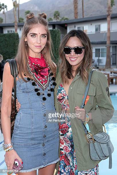 Chiara Ferragni and Aimee Song attend Moet Chandon kicks off Coachella With REVOLVE on April 15 2016 in Palm Springs California