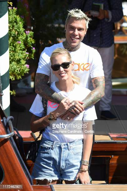 Chiara Ferragni and Fedez are seen arriving at the 76th Venice Film Festival on September 05 2019 in Venice Italy