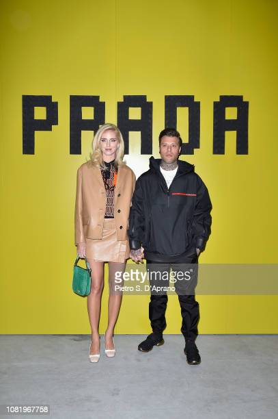 Chiara Ferragni and Fedez attend Prada F/W19 Men's and Women's Fashion Show on January 13 2019 in Milan Italy