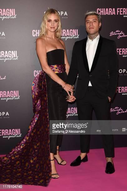 Chiara Ferragni and Fedez attend the Chiara Ferragni Unposted premiere in Milan on September 16 2019 in Milan Italy