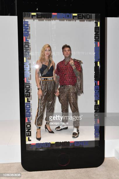 Chiara Ferragni and Fedez attend the Fendi show during Milan Fashion Week Spring/Summer 2019 on September 20 2018 in Milan Italy