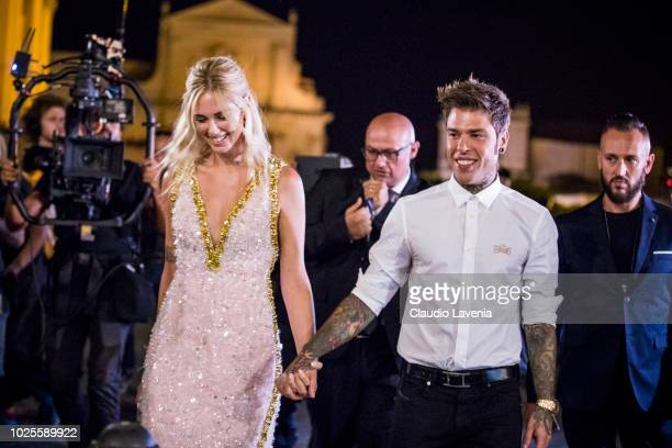 Chiara Ferragni and Fedez attend the pre wedding party on August 31 2018 in Noto Italy
