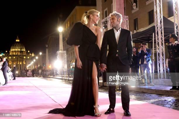 Chiara Ferragni and Fedez attend the premiere of the movie Chiara Ferragni Unposted at the Auditorium della Conciliazione on November 19 2019 in Rome...