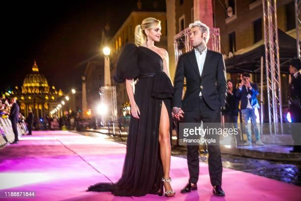 """Chiara Ferragni and Fedez attend the premiere of the movie """"Chiara Ferragni - Unposted"""" at the Auditorium della Conciliazione on November 19, 2019 in..."""
