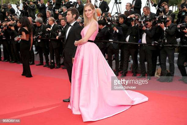 Chiara Ferragni and Fedez attend the screening of Sink Or Swim during the 71st annual Cannes Film Festival at Palais des Festivals on May 13 2018 in...