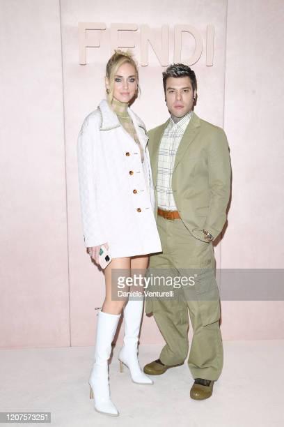 Chiara Ferragni and Fedez attenda the Fendi fashion show on February 20 2020 in Milan Italy
