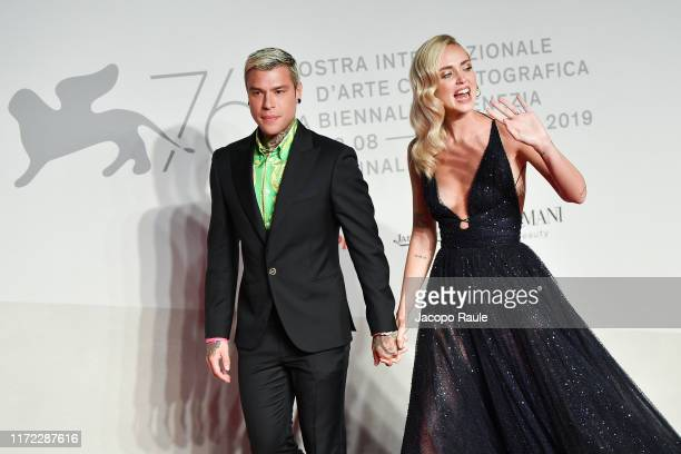 Chiara Ferragni and Fedez walk the red carpet ahead of the Chiara Ferragni Unposted screening during the 76th Venice Film Festival at Sala Giardino...