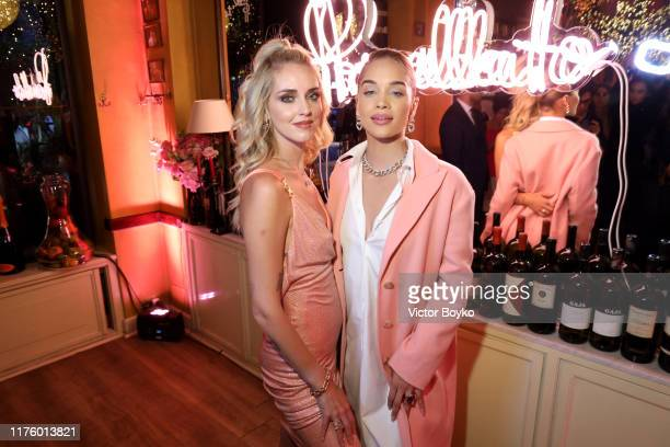 Chiara Ferragni and Jasmine Sanders attend Pomellato Pink Party on September 20, 2019 in Milan, Italy.