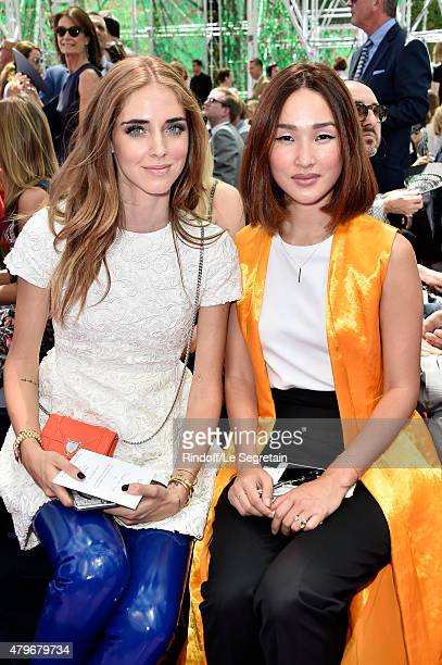 Chiara Ferragni and Nicole Warne attend the Christian Dior show as part of Paris Fashion Week Haute Couture Fall/Winter 2015/2016 on July 6 2015 in...