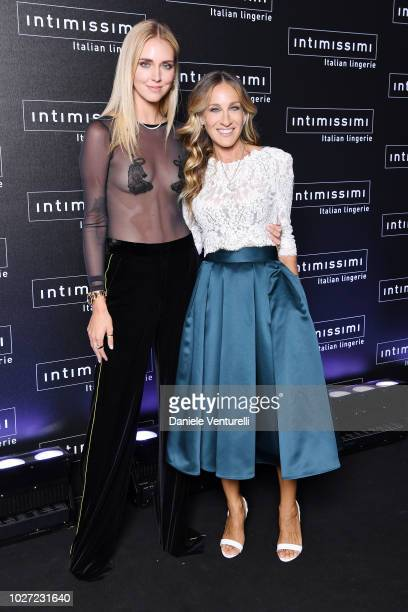 Chiara Ferragni and Sarah Jessica Parker attends the Intimissimi Show on September 5 2018 in Verona Italy
