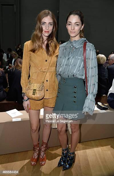 Chiara Ferragni and Sofia Sanchez Barrenechea attend the Chloe show as part of the Paris Fashion Week Womenswear Fall/Winter 2015/2016 on March 8...