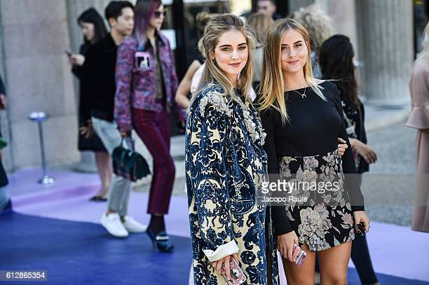 Chiara Ferragni and Valentina Ferragni are seen arriving at Miu Miu Fashion show during Paris Fashion Week Spring/Summer 2017 on October 5 2016 in...
