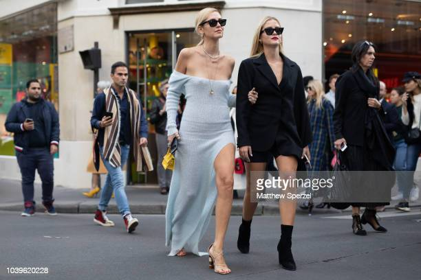 Chiara Ferragni and Valentina Ferragni are seen on the street during Paris Fashion Week SS19 wearing Jacquemus on September 24 2018 in Paris France
