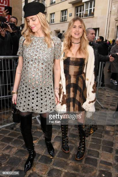 Chiara Ferragni and Valentina Ferragni attend the Christian Dior Haute Couture Spring Summer 2018 show as part of Paris Fashion Week on January 22...