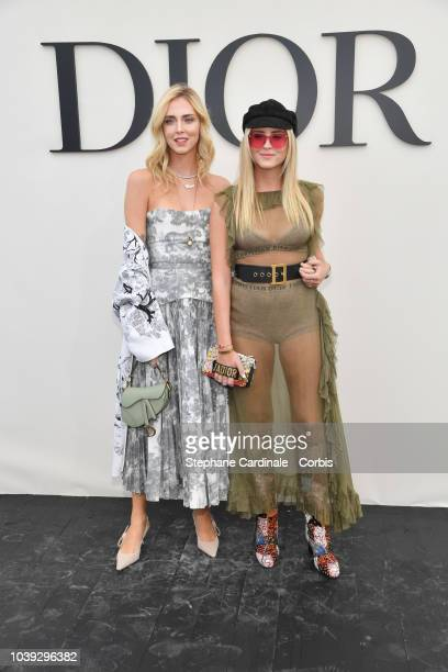 Chiara Ferragni and Valentina Ferragni attend the Christian Dior show as part of the Paris Fashion Week Womenswear Spring/Summer 2019 on September 24...