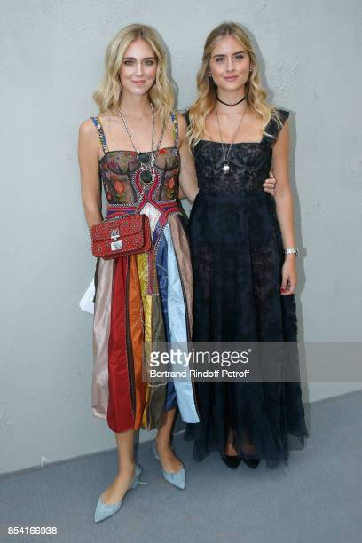 Chiara Ferragni and Valentina Ferragni attend the Christian Dior show as part of the Paris Fashion Week Womenswear Spring/Summer 2018 on September 26...