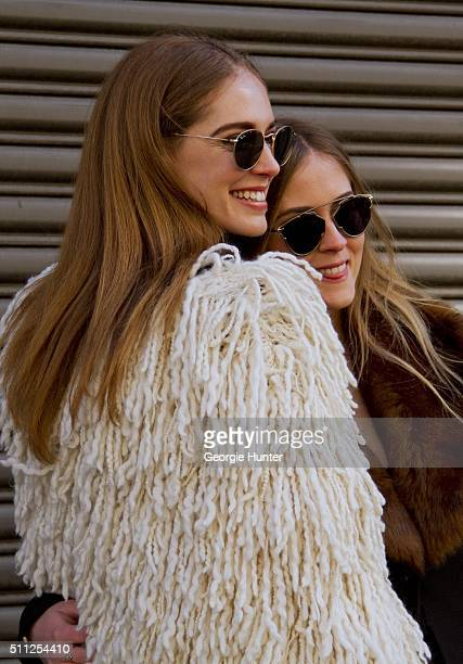 Chiara Ferragni and Valentina Ferragni seen at Skylight Clarkson Sq outside the Ralph Lauren show Chiara wears white shag wool coat and sunglasses...