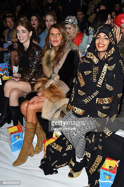 Chiara Ferragni Anna Dello Russo and MIA attend the Moschino show during the Milan Fashion Week Autumn/Winter 2015 on February 26 2015 in Milan Italy