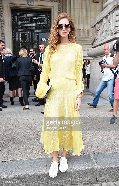 Chiara Ferragni arrives at the Emanuel Ungaro show during Paris Fashion Week Womenswear SS 2015 on September 29 2014 in Paris France