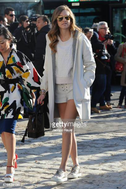 Chiara Ferragni arrives at the Louis Vuitton show as part of the Paris Fashion Week Womenswear Fall/Winter 20142015 on March 5 2014 in Paris France