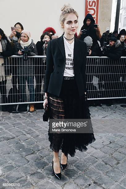 Chiara Ferragni attending Dior runway show during Paris Fashion Week - Haute Couture Spring Summer 2017 on January 23, 2017 in Paris, France.