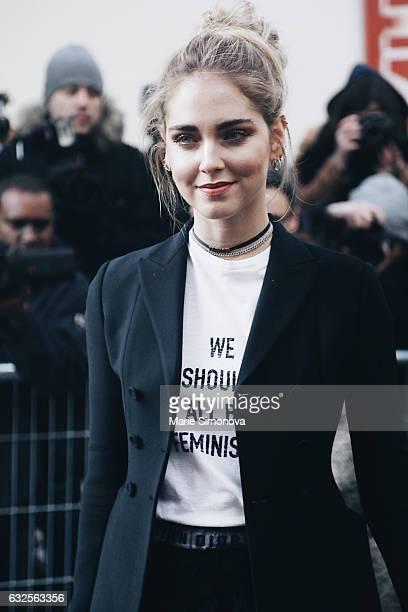 Chiara Ferragni attending Dior runway show on January 23 2017 in Paris France