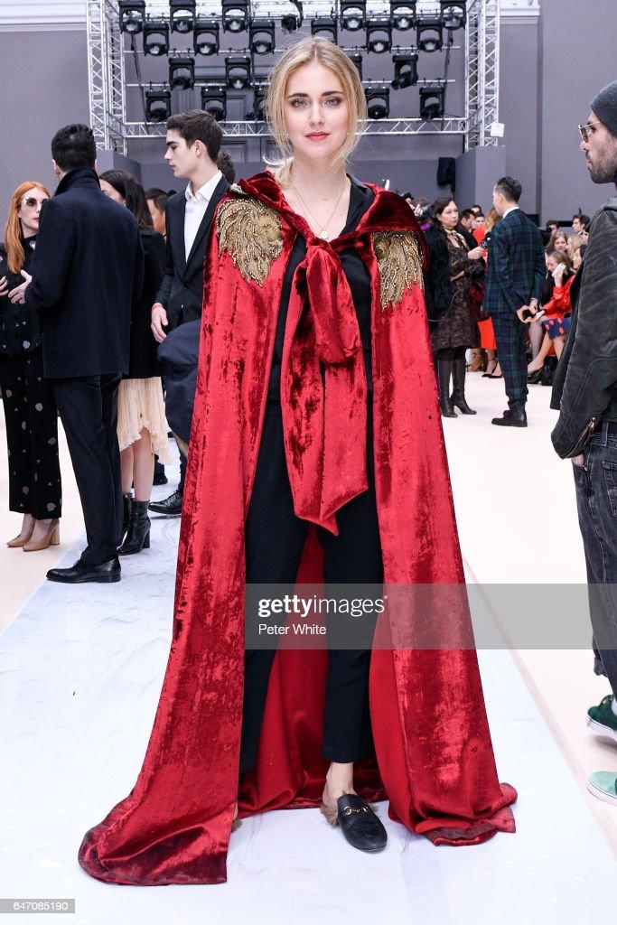 Chiara Ferragni attends the Chloe show as part of the Paris Fashion Week Womenswear Fall/Winter 2017/2018 on March 2, 2017 in Paris, France.