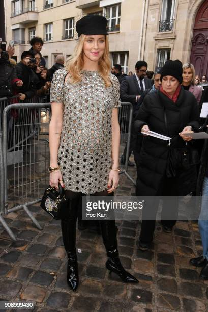 Chiara Ferragni attends the Christian Dior Haute Couture Spring Summer 2018 show as part of Paris Fashion Week on January 22 2018 in Paris France