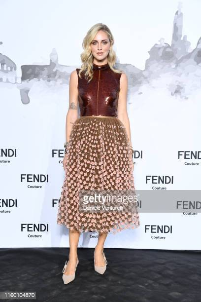 Chiara Ferragni attends the Cocktail at Fendi Couture Fall Winter 2019/2020 on July 04, 2019 in Rome, Italy.
