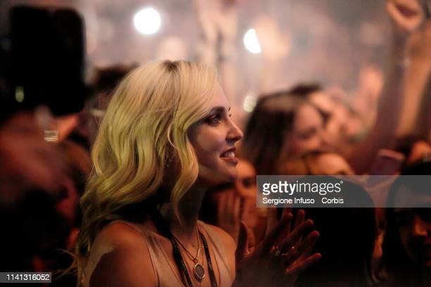 Chiara Ferragni attends the concert of Fedez at Mediolanum Forum on April 8 2019 in Milan Italy
