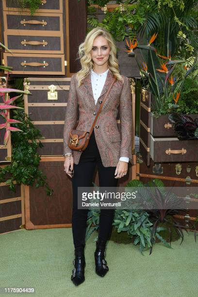 Chiara Ferragni attends the Etro fashion show during the Milan Fashion Week Spring/Summer 2020 on September 20 2019 in Milan Italy