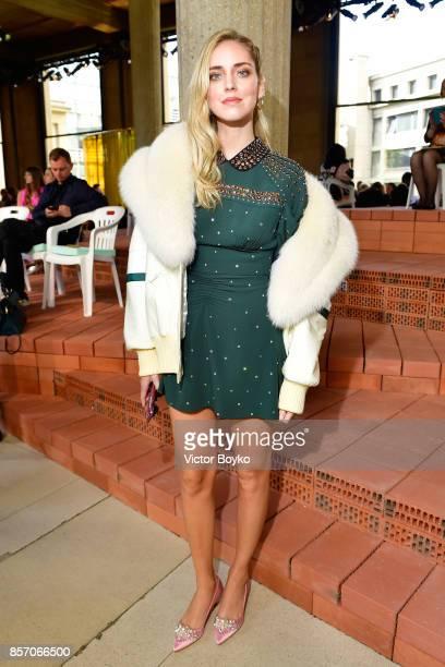 Chiara Ferragni attends the Miu Miu show as part of the Paris Fashion Week Womenswear Spring/Summer 2018 on October 3 2017 in Paris France
